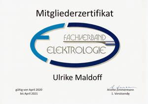 Mitgliedszertifikat Fachverband Elektrologie