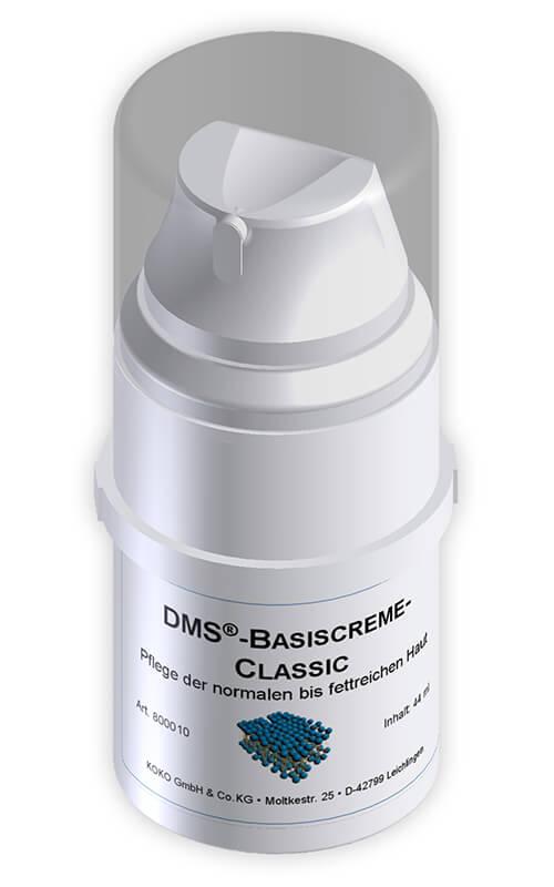 Die Spender, die man bei den DMS Basiscremes erhält, machen eine Anwendung im Alltag sehr einfach.